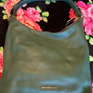 Green soft leather shoulder bag. Worn once